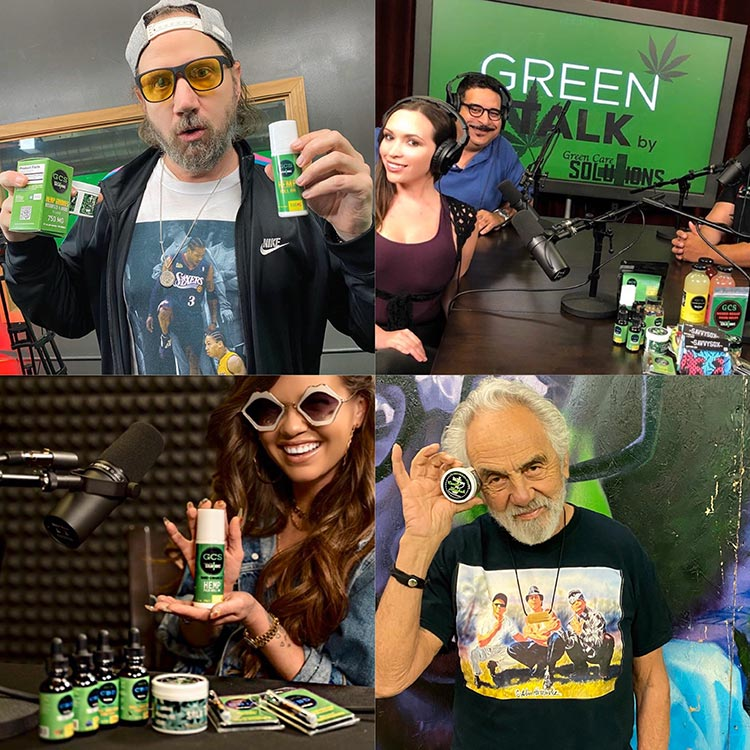 green talk news collage of guests holding products